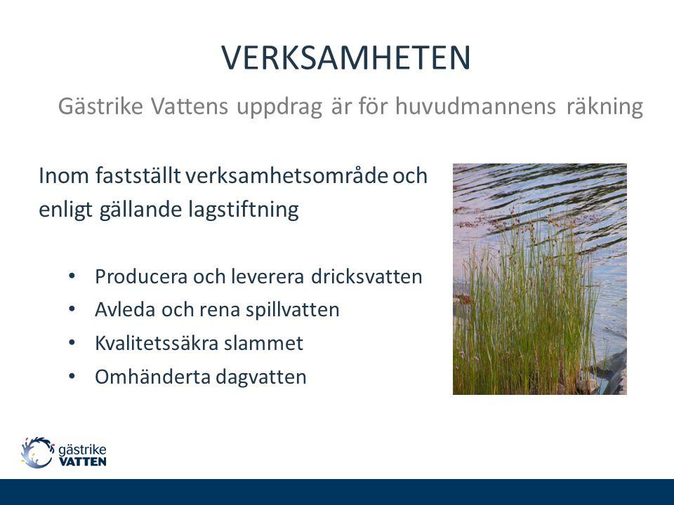 VERKSAMHETEN Gästrike Vattens uppdrag är för huvudmannens räkning Inom fastställt verksamhetsområde och enligt gällande lagstiftning Producera och lev