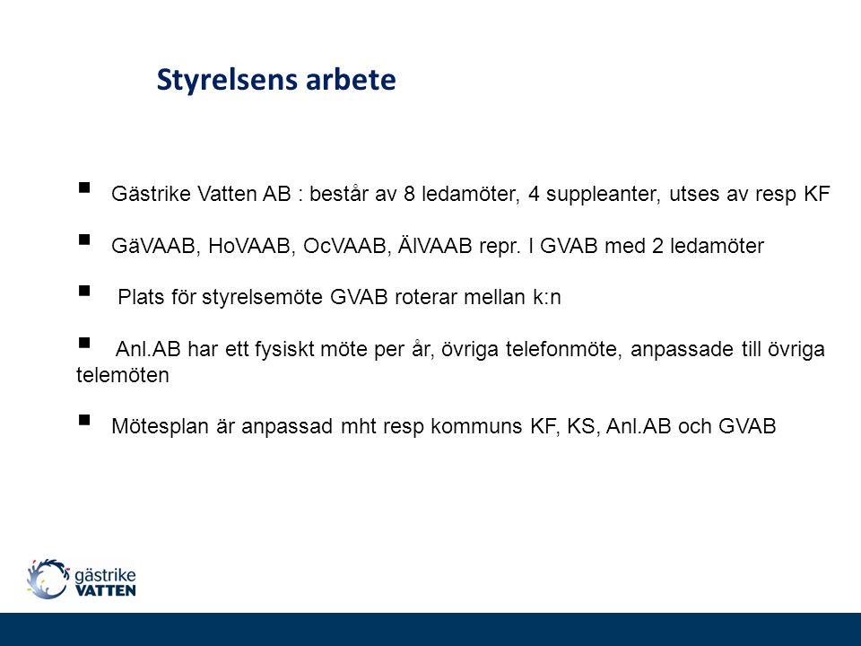  Gästrike Vatten AB : består av 8 ledamöter, 4 suppleanter, utses av resp KF  GäVAAB, HoVAAB, OcVAAB, ÄlVAAB repr. I GVAB med 2 ledamöter  Plats fö