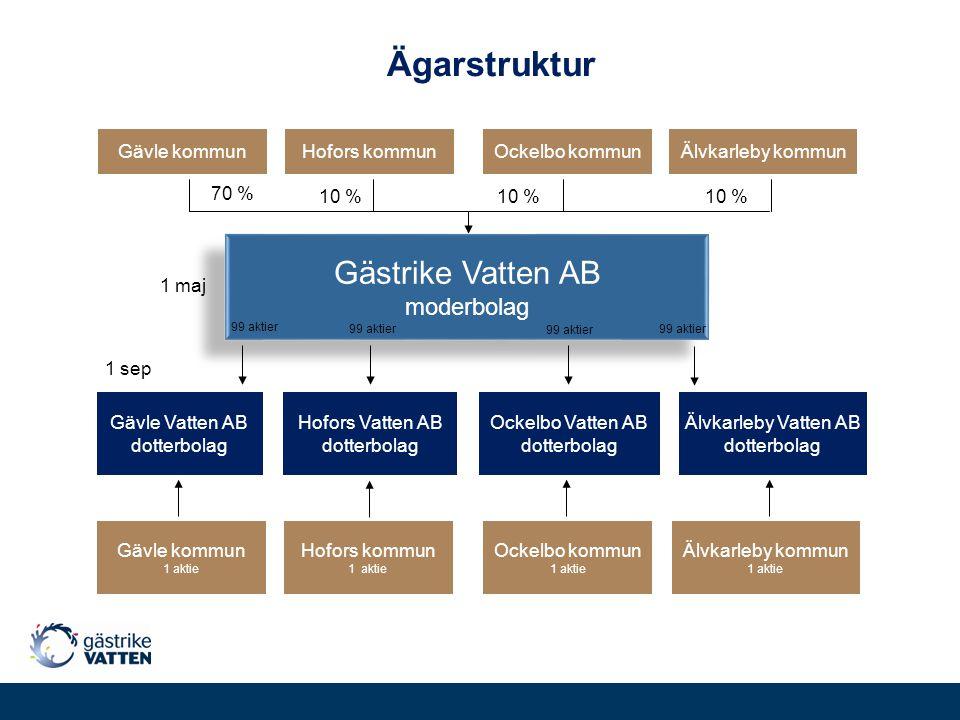 Ägarstruktur Älvkarleby Vatten AB dotterbolag Hofors Vatten AB dotterbolag Ockelbo Vatten AB dotterbolag Gävle kommunOckelbo kommunHofors kommunÄlvkar