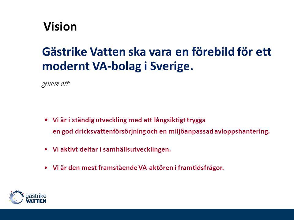 Vision Gästrike Vatten ska vara en förebild för ett modernt VA-bolag i Sverige. genom att: Vi är i ständig utveckling med att långsiktigt trygga en go