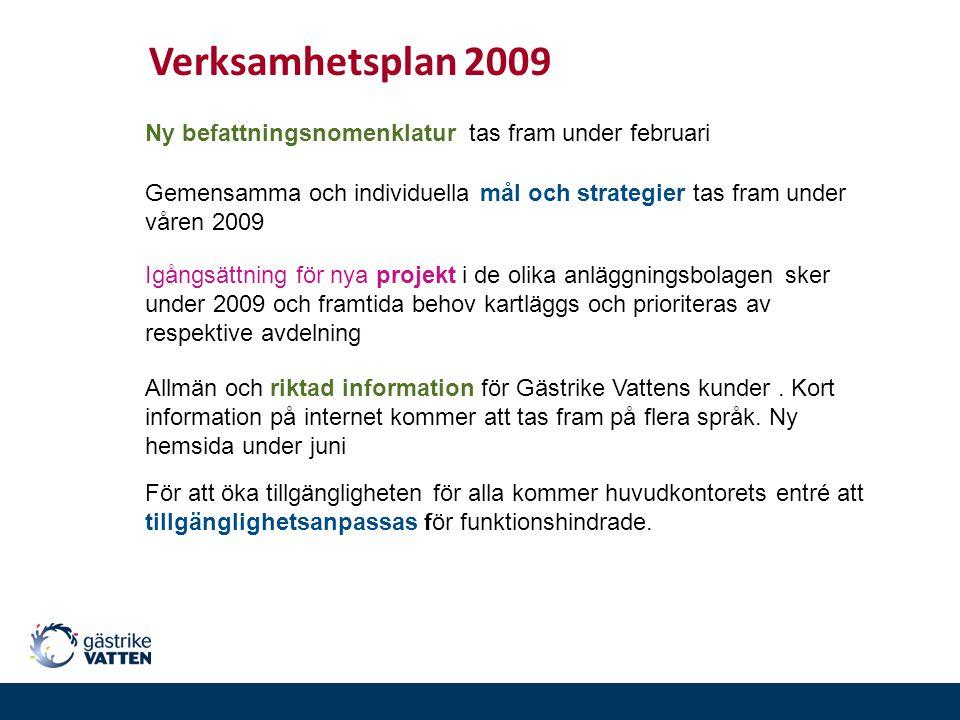Gemensamma och individuella mål och strategier tas fram under våren 2009 Verksamhetsplan 2009 Igångsättning för nya projekt i de olika anläggningsbola