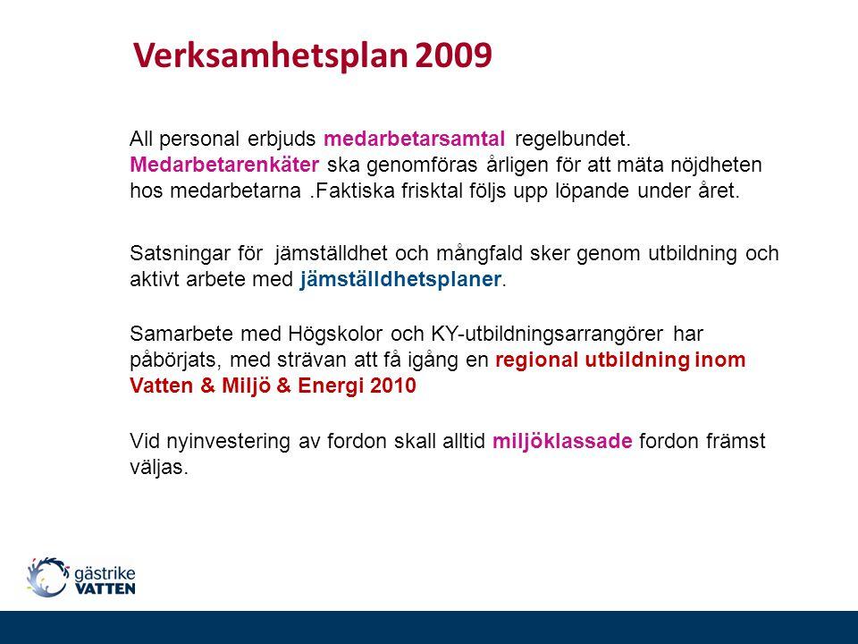 Verksamhetsplan 2009 All personal erbjuds medarbetarsamtal regelbundet. Medarbetarenkäter ska genomföras årligen för att mäta nöjdheten hos medarbetar