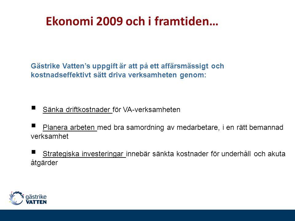 Ekonomi 2009 och i framtiden… Gästrike Vatten's uppgift är att på ett affärsmässigt och kostnadseffektivt sätt driva verksamheten genom:  Sänka drift
