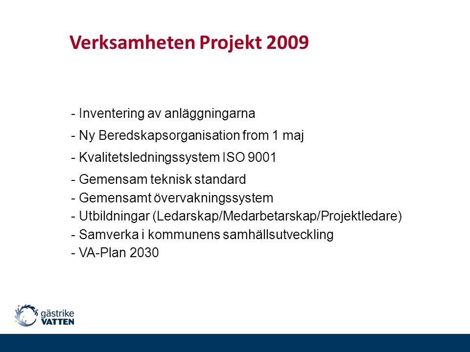 - Inventering av anläggningarna Verksamheten Projekt 2009 - Ny Beredskapsorganisation from 1 maj - Kvalitetsledningssystem ISO 9001 - Gemensam teknisk