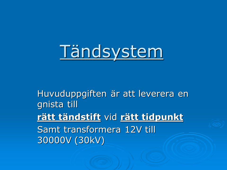 Tändsystem Huvuduppgiften är att leverera en gnista till rätt tändstift vid rätt tidpunkt Samt transformera 12V till 30000V (30kV)