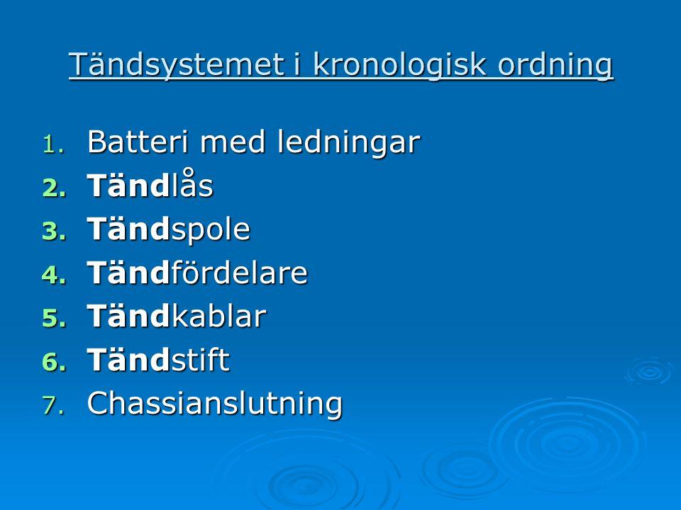 Tändsystemet i kronologisk ordning 1. Batteri med ledningar 2. Tändlås 3. Tändspole 4. Tändfördelare 5. Tändkablar 6. Tändstift 7. Chassianslutning