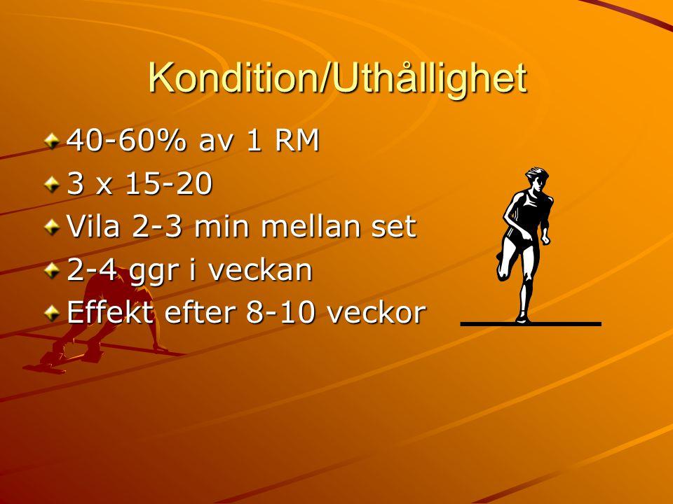 Kondition/Uthållighet 40-60% av 1 RM 3 x 15-20 Vila 2-3 min mellan set 2-4 ggr i veckan Effekt efter 8-10 veckor