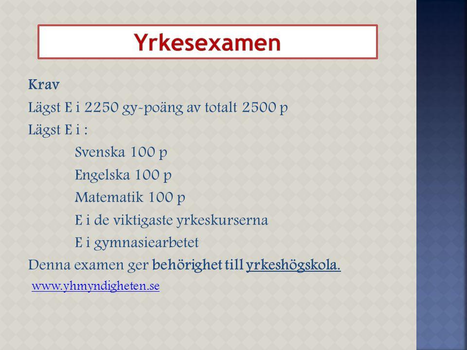Krav Lägst E i 2250 gy-poäng av totalt 2500 p Lägst E i : Svenska 100 p Engelska 100 p Matematik 100 p E i de viktigaste yrkeskurserna E i gymnasiearb