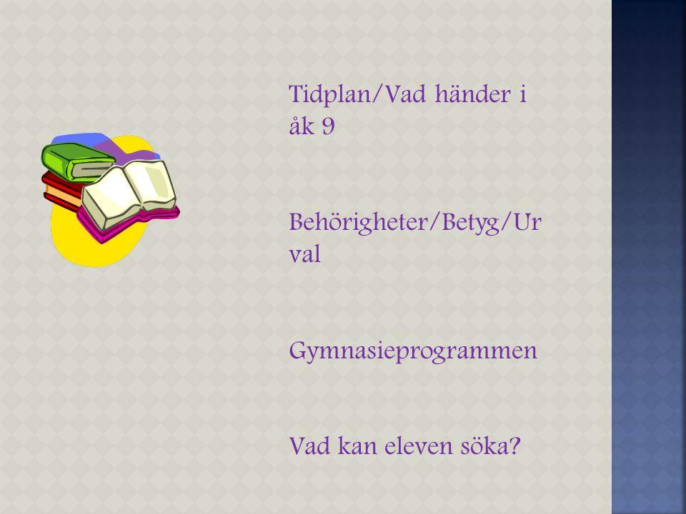 Tidplan/Vad händer i åk 9 Behörigheter/Betyg/Ur val Gymnasieprogrammen Vad kan eleven söka?