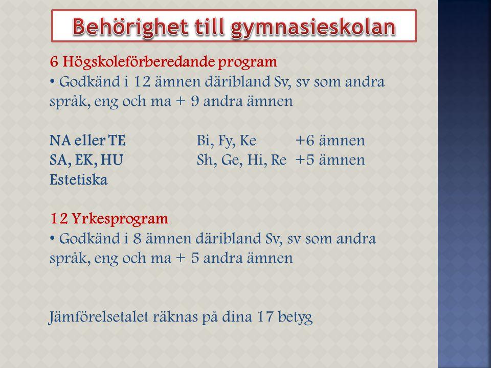 6 Högskoleförberedande program Godkänd i 12 ämnen däribland Sv, sv som andra språk, eng och ma + 9 andra ämnen NA eller TEBi, Fy, Ke+6 ämnen SA, EK, H