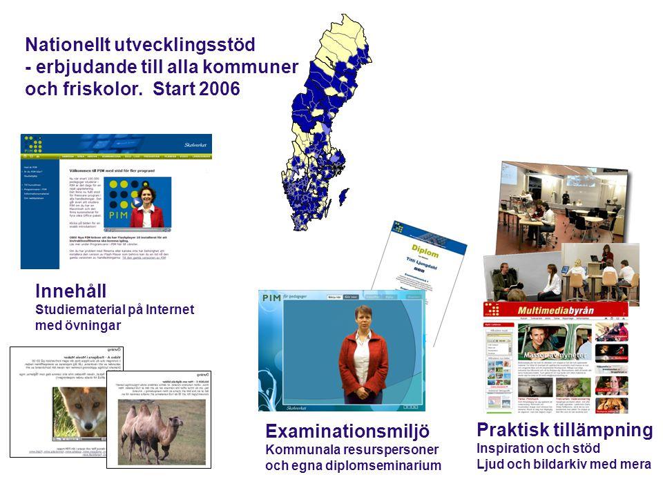 PIM Lägesrapport 2011 20 kommuner startade 2006 20 nya kommuner startar 2011 175 kommuner deltar i PIM med totalt 120 000 pedagoger och skolledare med stöd av 1150 kommunala resurspersoner
