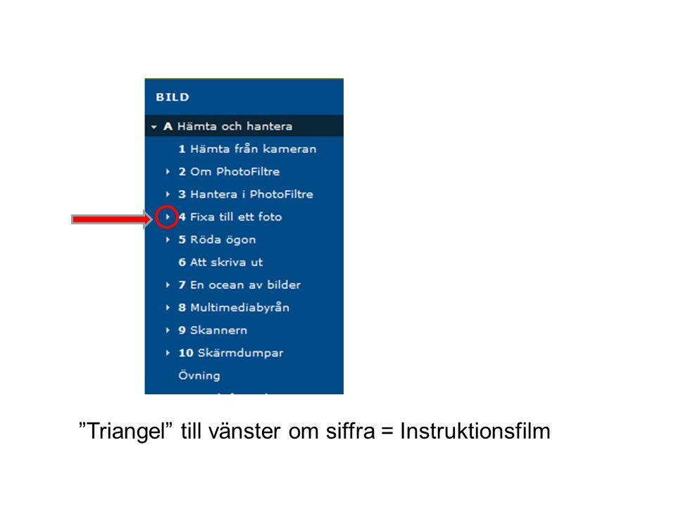 """""""Triangel"""" till vänster om siffra = Instruktionsfilm"""