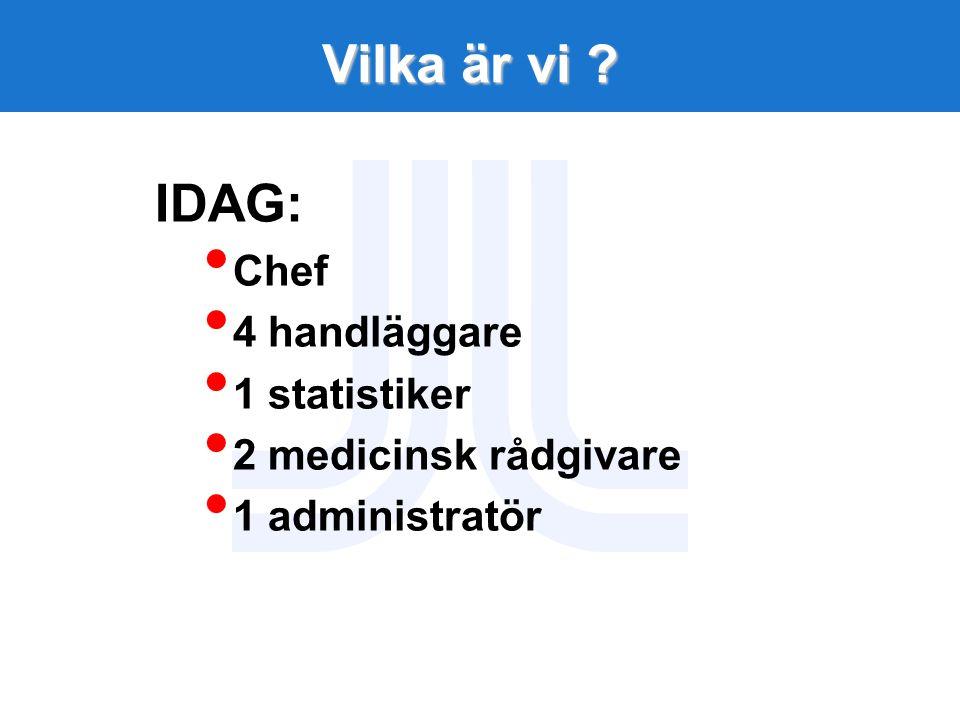 Vilka är vi ? IDAG: Chef 4 handläggare 1 statistiker 2 medicinsk rådgivare 1 administratör