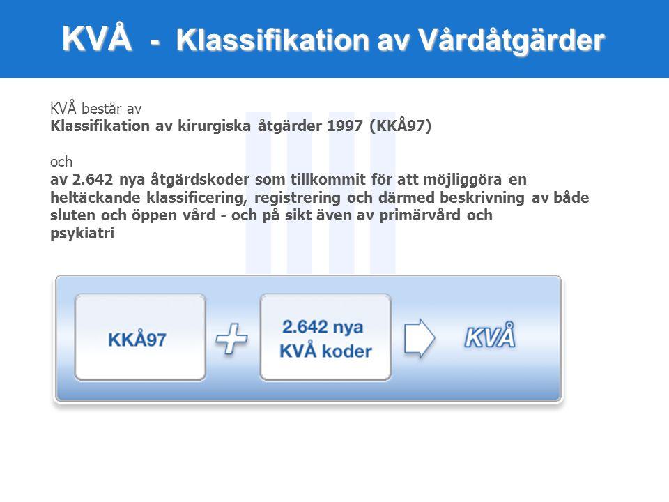 KVÅ - Klassifikation av Vårdåtgärder KVÅ består av Klassifikation av kirurgiska åtgärder 1997 (KKÅ97) och av 2.642 nya åtgärdskoder som tillkommit för