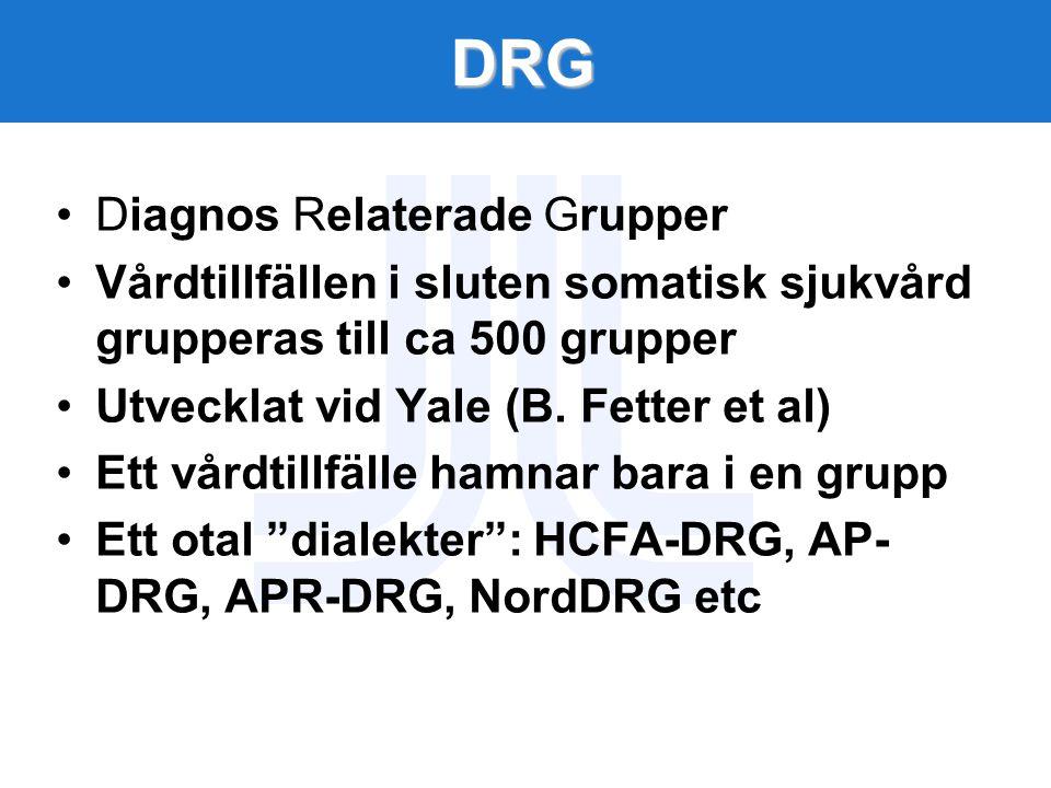 DRG Diagnos Relaterade Grupper Vårdtillfällen i sluten somatisk sjukvård grupperas till ca 500 grupper Utvecklat vid Yale (B. Fetter et al) Ett vårdti