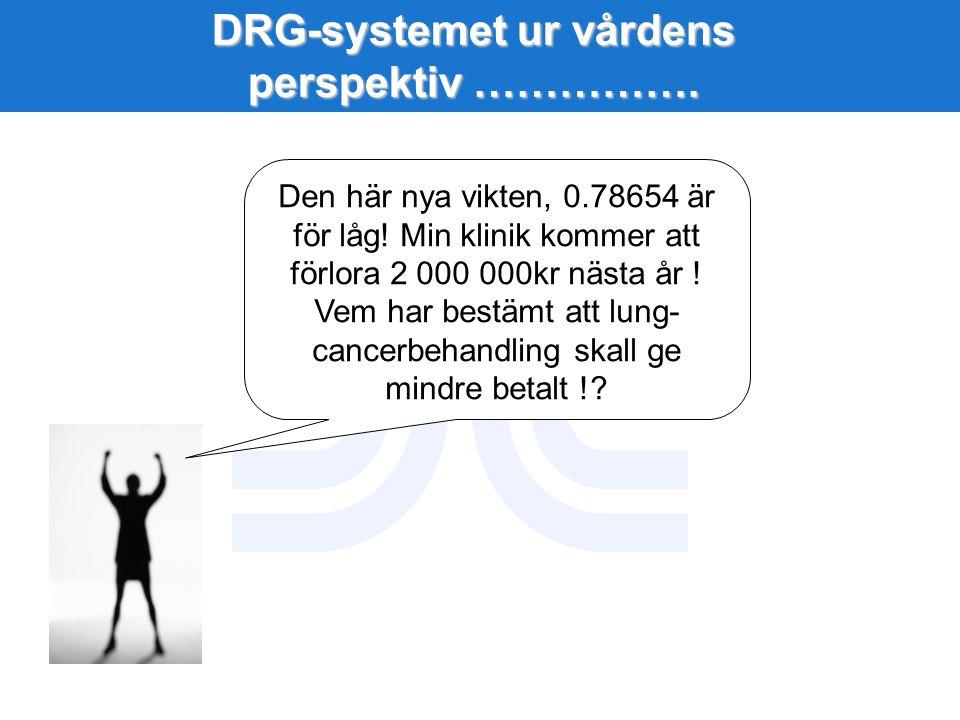 DRG-systemet ur vårdens perspektiv ……………. Den här nya vikten, 0.78654 är för låg! Min klinik kommer att förlora 2 000 000kr nästa år ! Vem har bestämt