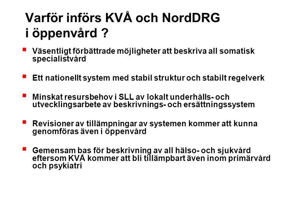 Varför införs KVÅ och NordDRG i öppenvård ?  Väsentligt förbättrade möjligheter att beskriva all somatisk specialistvård  Ett nationellt system med