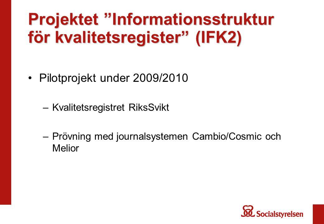 Projektet Informationsstruktur för kvalitetsregister (IFK2) Pilotprojekt under 2009/2010 –Kvalitetsregistret RiksSvikt –Prövning med journalsystemen Cambio/Cosmic och Melior