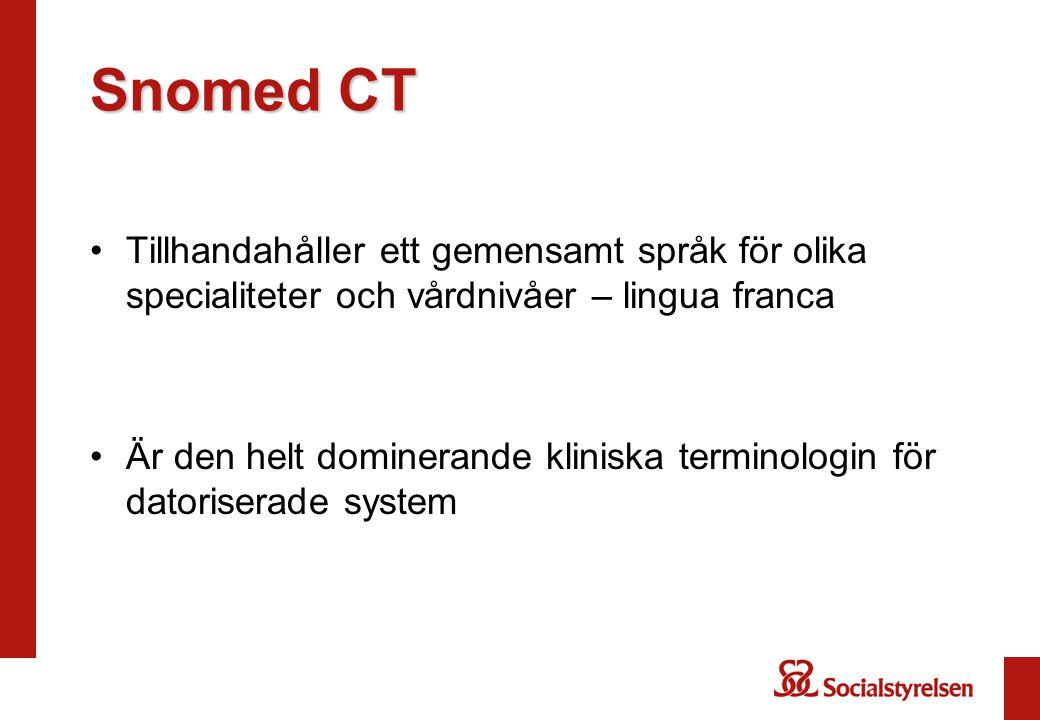 Snomed CT Tillhandahåller ett gemensamt språk för olika specialiteter och vårdnivåer – lingua franca Är den helt dominerande kliniska terminologin för datoriserade system