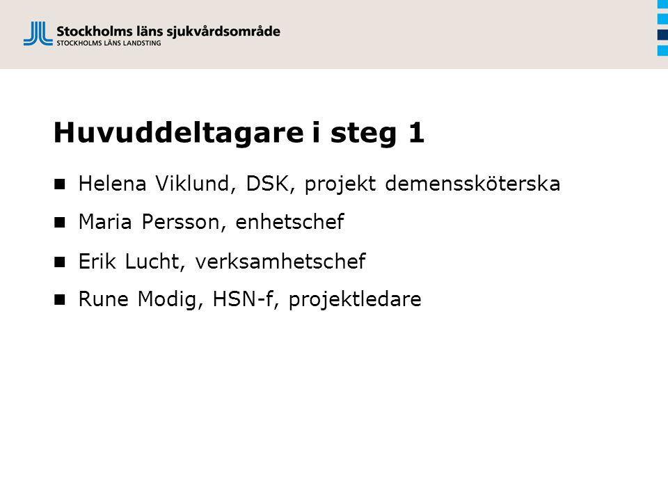 Huvuddeltagare i steg 1 Helena Viklund, DSK, projekt demenssköterska Maria Persson, enhetschef Erik Lucht, verksamhetschef Rune Modig, HSN-f, projektledare