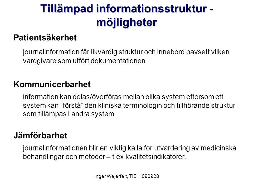 Inger Wejerfelt, TIS 090928 Tillämpad informationsstruktur - möjligheter Patientsäkerhet journalinformation får likvärdig struktur och innebörd oavset