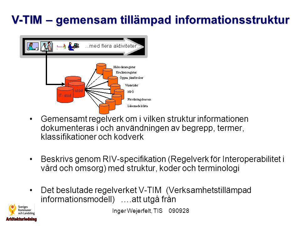 Inger Wejerfelt, TIS 090928 Gemensamt regelverk om i vilken struktur informationen dokumenteras i och användningen av begrepp, termer, klassifikatione
