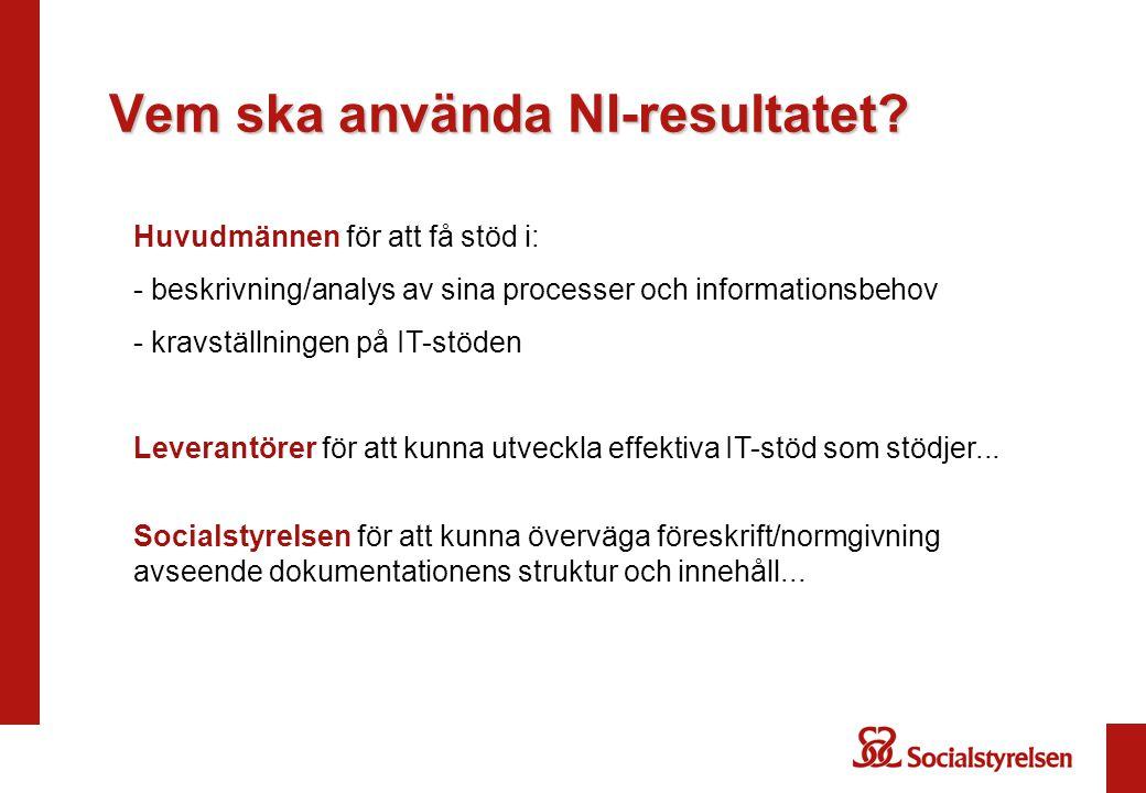 Vem ska använda NI-resultatet? Huvudmännen för att få stöd i: - beskrivning/analys av sina processer och informationsbehov - kravställningen på IT-stö