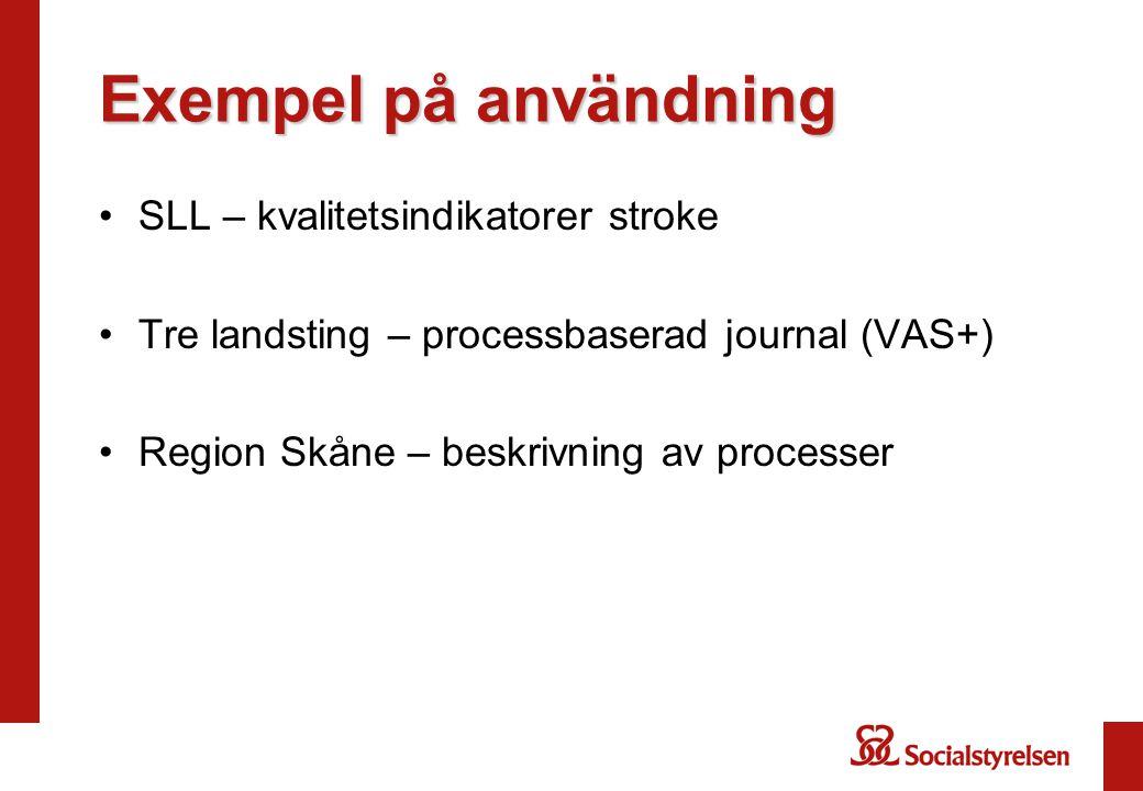 Exempel på användning SLL – kvalitetsindikatorer stroke Tre landsting – processbaserad journal (VAS+) Region Skåne – beskrivning av processer