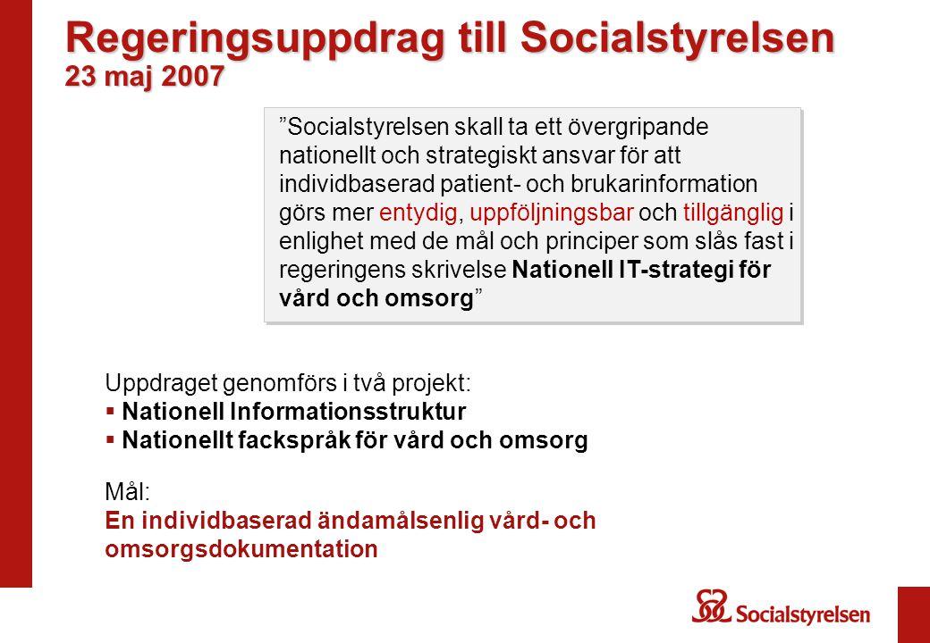 """Regeringsuppdrag till Socialstyrelsen 23 maj 2007 """"Socialstyrelsen skall ta ett övergripande nationellt och strategiskt ansvar för att individbaserad"""
