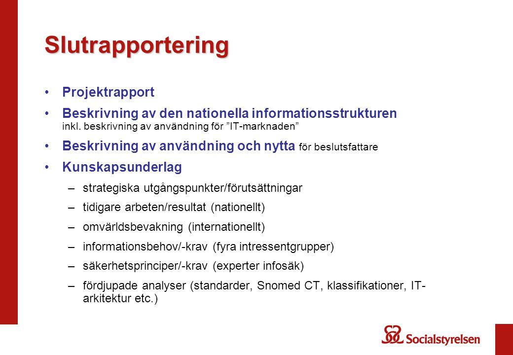 """Slutrapportering Projektrapport Beskrivning av den nationella informationsstrukturen inkl. beskrivning av användning för """"IT-marknaden"""" Beskrivning av"""