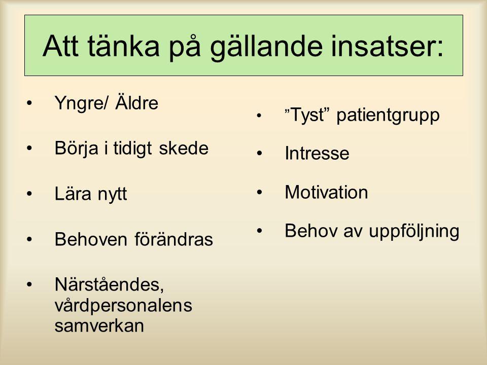 """Att tänka på gällande insatser: Yngre/ Äldre Börja i tidigt skede Lära nytt Behoven förändras Närståendes, vårdpersonalens samverkan """" Tyst"""" patientgr"""