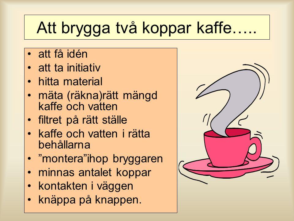 Att brygga två koppar kaffe….. att få idén att ta initiativ hitta material mäta (räkna)rätt mängd kaffe och vatten filtret på rätt ställe kaffe och va
