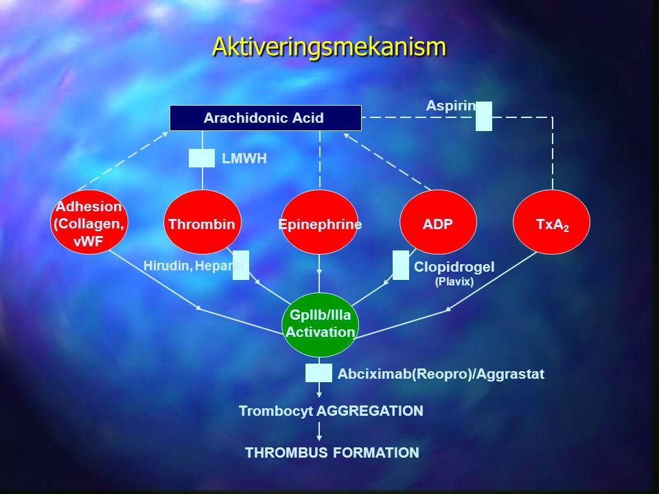 Aktiveringsmekanism Arachidonic Acid ThrombinADPEpinephrineTxA 2 Adhesion (Collagen, vWF GpIIb/IIIa Activation Trombocyt AGGREGATION THROMBUS FORMATIO