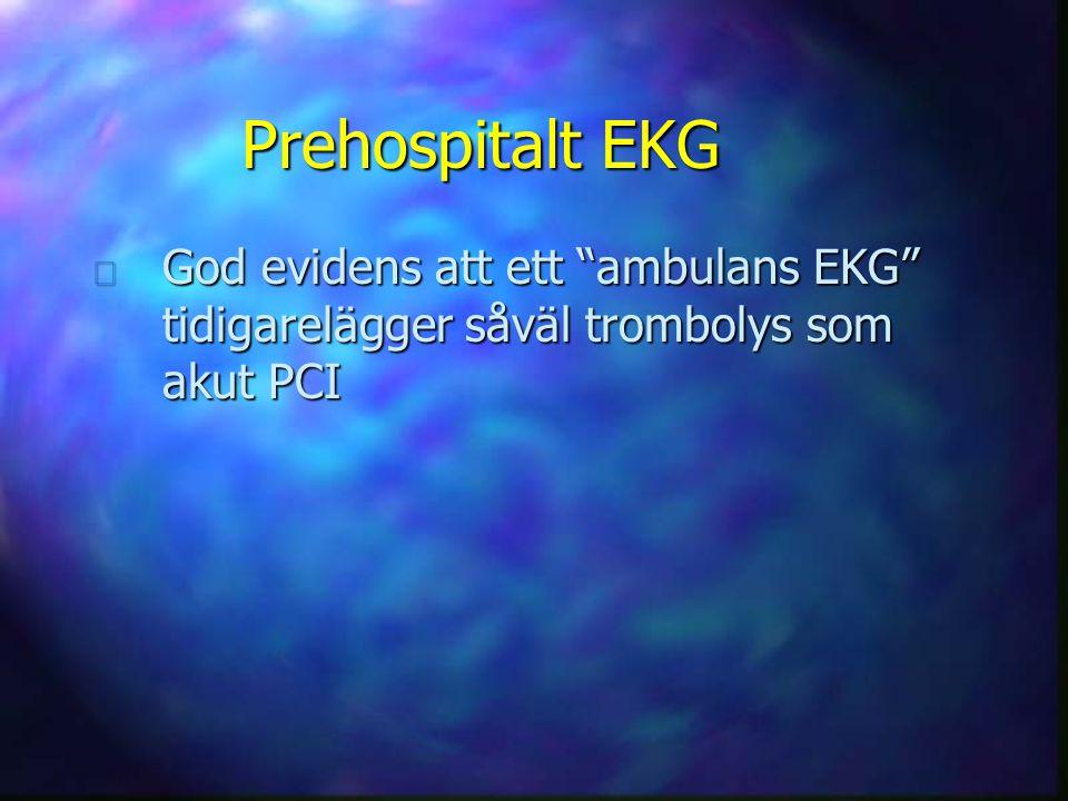 "Prehospitalt EKG n God evidens att ett ""ambulans EKG"" tidigarelägger såväl trombolys som akut PCI"