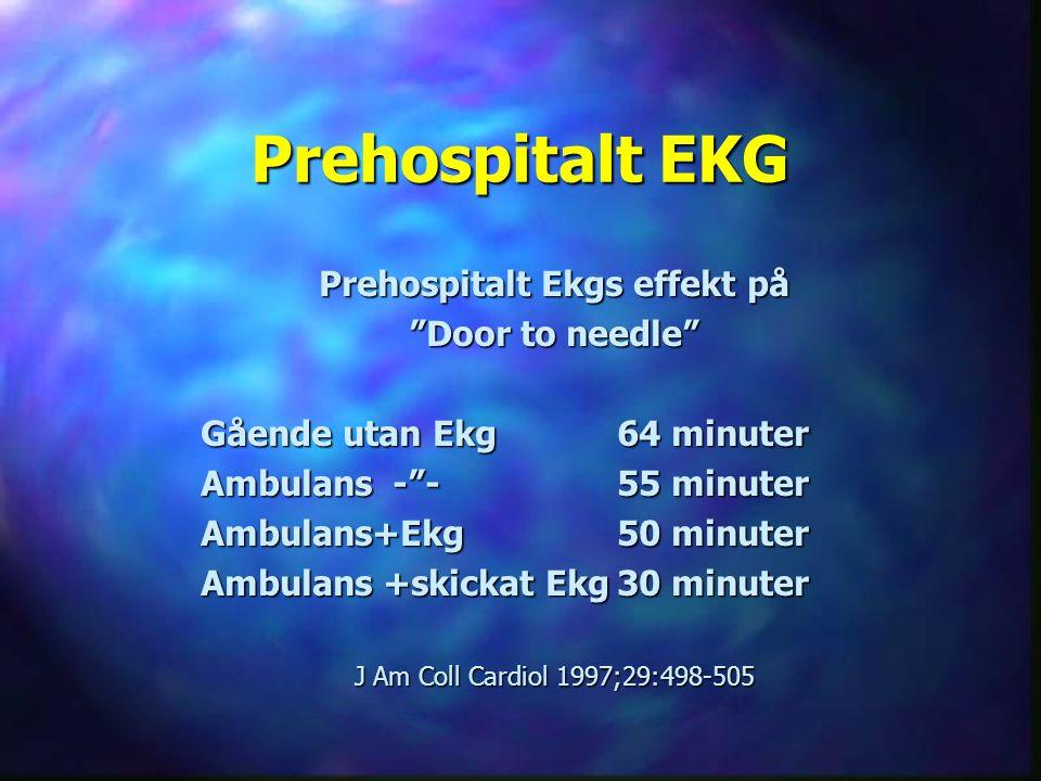 """Prehospitalt EKG Prehospitalt Ekgs effekt på """"Door to needle"""" Gående utan Ekg64 minuter Ambulans -""""-55 minuter Ambulans+Ekg50 minuter Ambulans +skicka"""