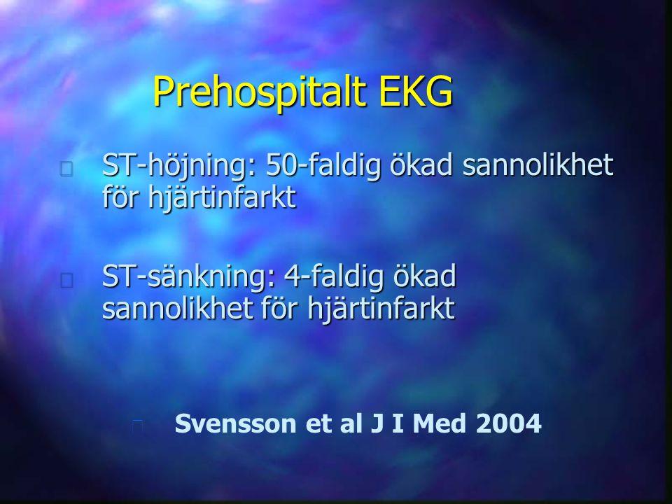 Prehospitalt EKG n ST-höjning: 50-faldig ökad sannolikhet för hjärtinfarkt n ST-sänkning: 4-faldig ökad sannolikhet för hjärtinfarkt n n Svensson et a