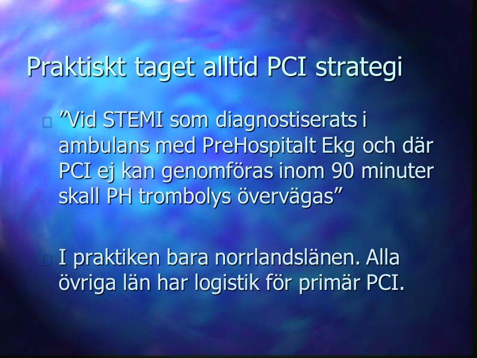 """Praktiskt taget alltid PCI strategi n """"Vid STEMI som diagnostiserats i ambulans med PreHospitalt Ekg och där PCI ej kan genomföras inom 90 minuter ska"""