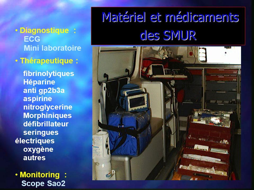Matériel et médicaments des SMUR Matériel et médicaments des SMUR Diagnostique : ECG Mini laboratoire Thérapeutique : fibrinolytiques Héparine anti gp