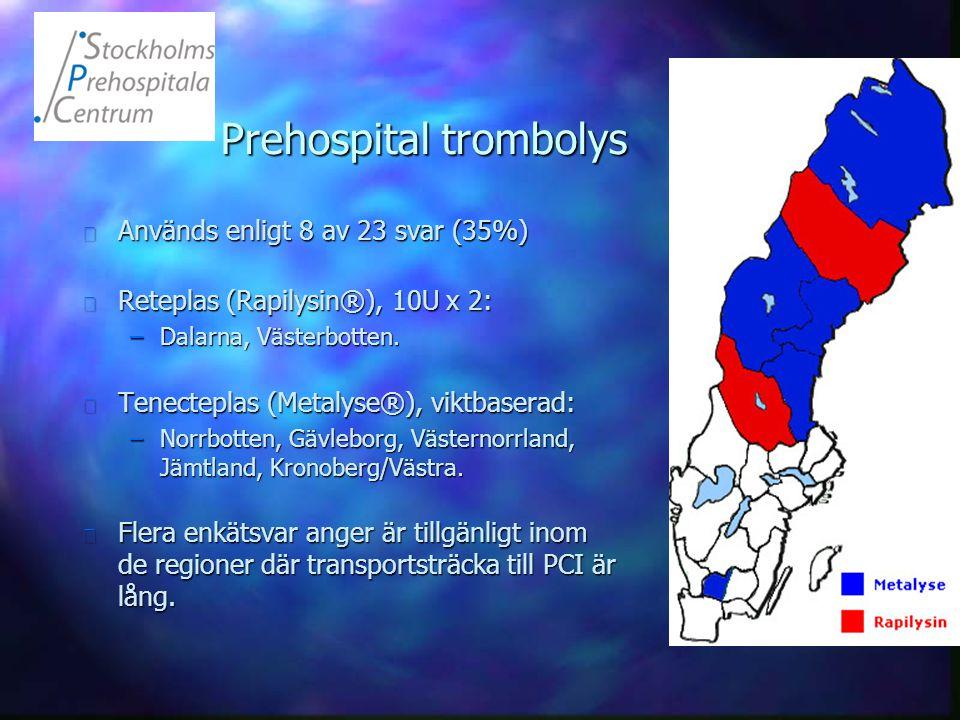 Prehospital trombolys n Används enligt 8 av 23 svar (35%) n Reteplas (Rapilysin®), 10U x 2: –Dalarna, Västerbotten. n Tenecteplas (Metalyse®), viktbas