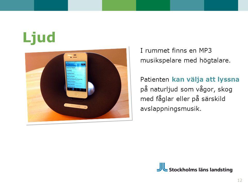 Ljud I rummet finns en MP3 musikspelare med högtalare. Patienten kan välja att lyssna på naturljud som vågor, skog med fåglar eller på särskild avslap