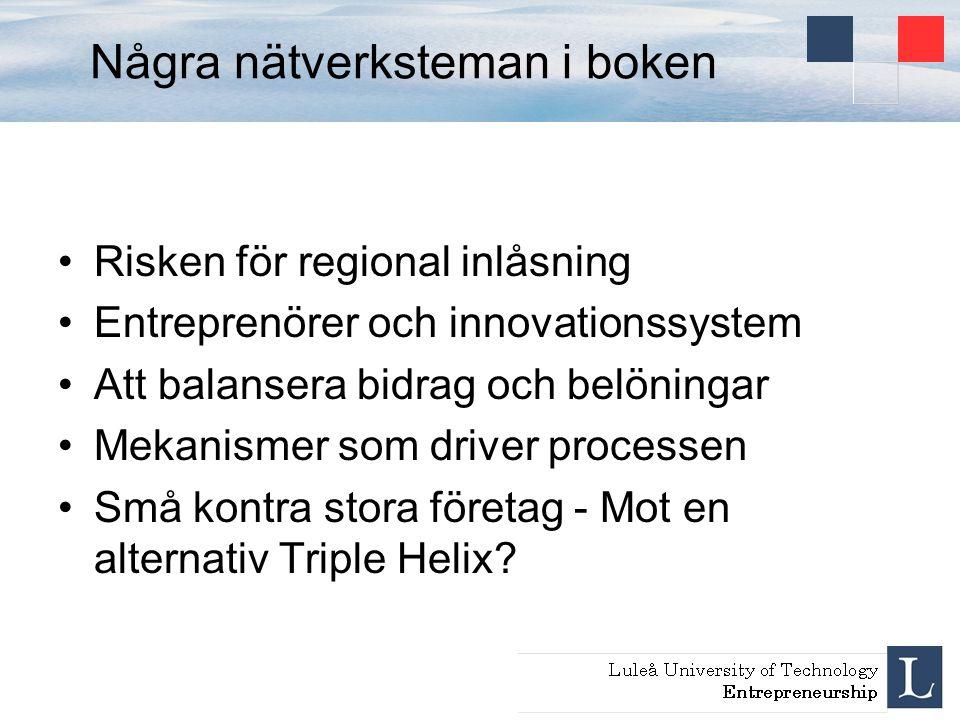 Några nätverksteman i boken Risken för regional inlåsning Entreprenörer och innovationssystem Att balansera bidrag och belöningar Mekanismer som drive