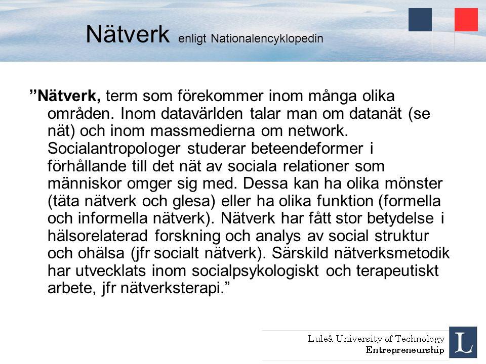 """Nätverk enligt Nationalencyklopedin """"Nätverk, term som förekommer inom många olika områden. Inom datavärlden talar man om datanät (se nät) och inom ma"""
