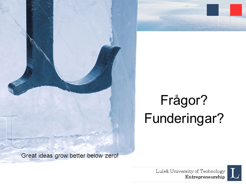 Great ideas grow better below zero! Frågor? Funderingar?