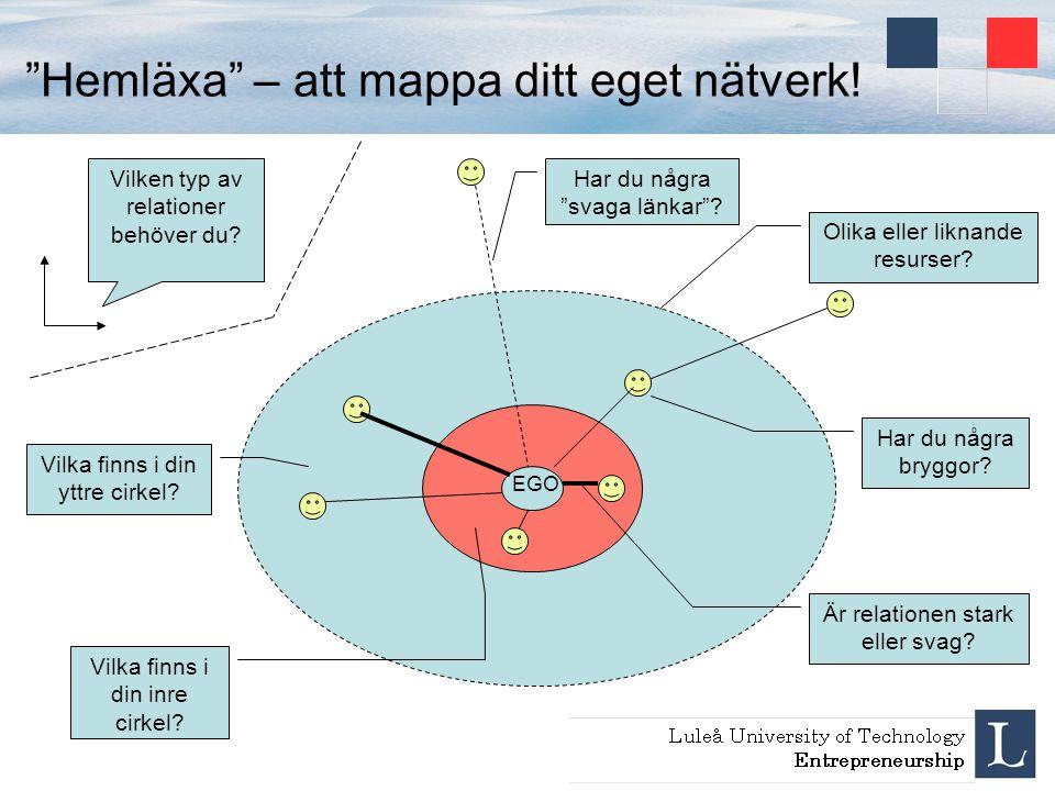 """""""Hemläxa"""" – att mappa ditt eget nätverk! Vilken typ av relationer behöver du? Vilka finns i din inre cirkel? EGO Vilka finns i din yttre cirkel? Har d"""