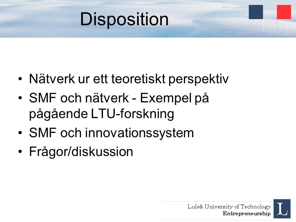 Disposition Nätverk ur ett teoretiskt perspektiv SMF och nätverk - Exempel på pågående LTU-forskning SMF och innovationssystem Frågor/diskussion