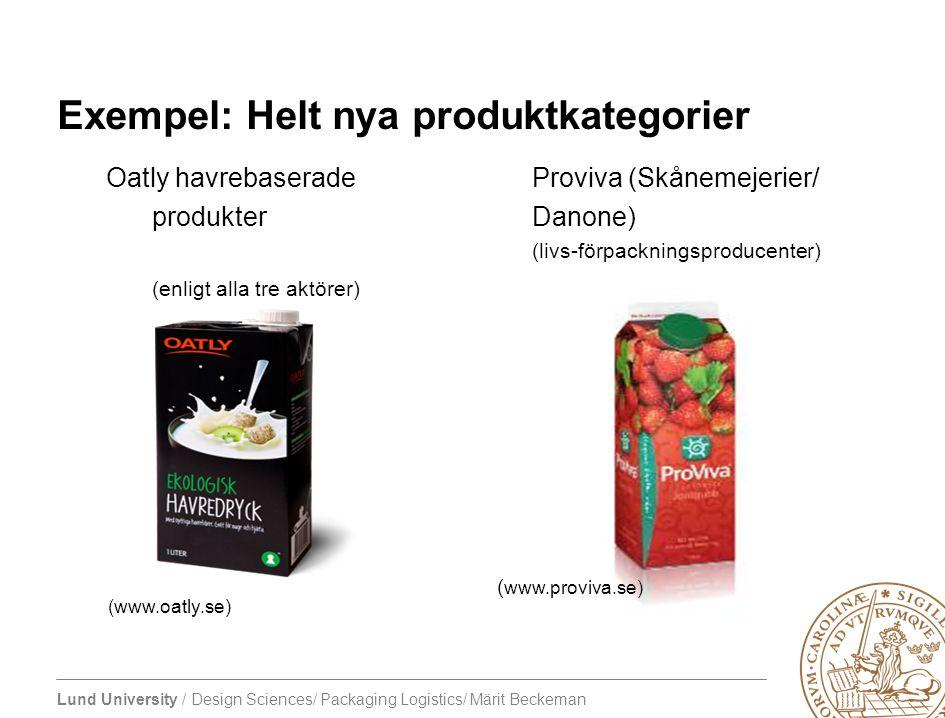 Lund University / Design Sciences/ Packaging Logistics/ Märit Beckeman Exempel: Helt nya produktkategorier Oatly havrebaseradeProviva (Skånemejerier/
