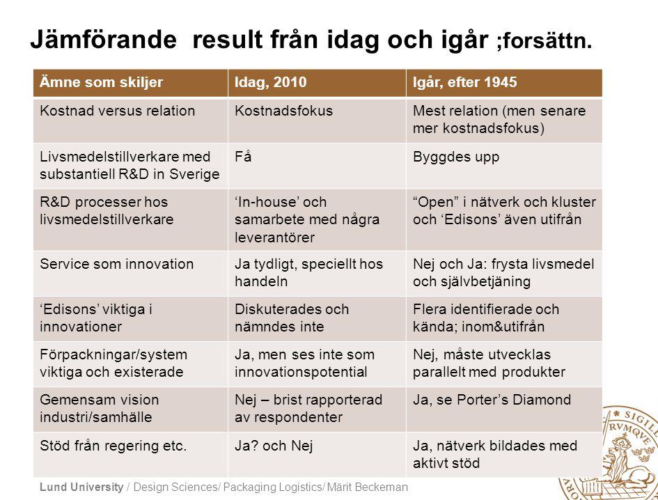Lund University / Design Sciences/ Packaging Logistics/ Märit Beckeman Jämförande result från idag och igår ;forsättn. Ämne som skiljerIdag, 2010Igår,