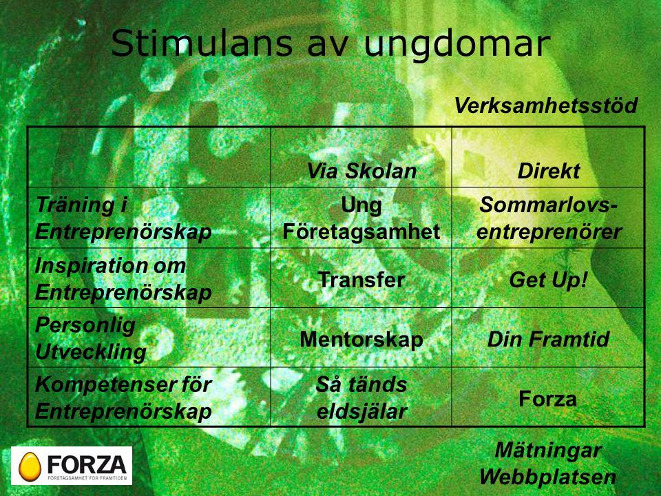 Stimulans av ungdomar Via SkolanDirekt Träning i Entreprenörskap Ung Företagsamhet Sommarlovs- entreprenörer Inspiration om Entreprenörskap TransferGet Up.