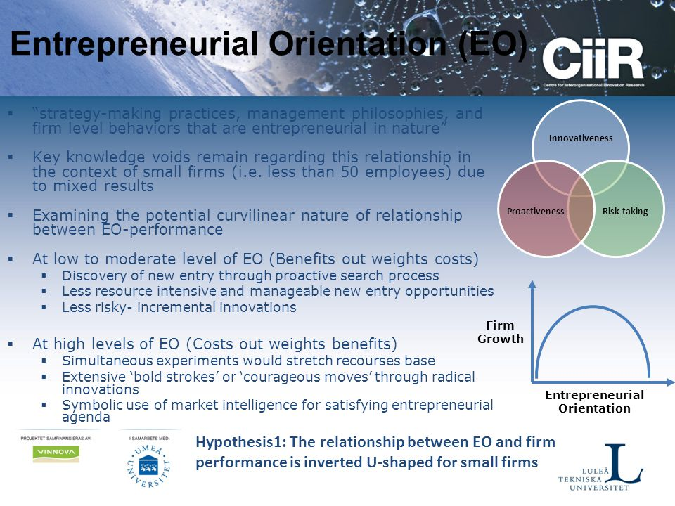 "Entrepreneurial Orientation (EO)  ""strategy-making practices, management philosophies, and firm level behaviors that are entrepreneurial in nature"" "