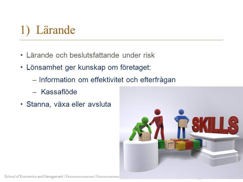 School of Economics and Management | Xxxxxxxxxxxxxxxx | Xxxxxxxxxxxxxx | (D) D Month YYYY 1) Lärande Lärande och beslutsfattande under risk Lönsamhet ger kunskap om företaget: –Information om effektivitet och efterfrågan – Kassaflöde Stanna, växa eller avsluta